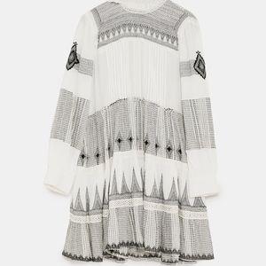 ee05380c613f Zara Dresses | Mini Dress With Contrasting Embroidery | Poshmark